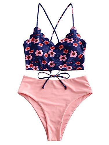 ZAFUL Women's Two Piece Swimwear Floral Surplice Plunging Neck High Cut Tankini Swimsuit (Large, Rose)