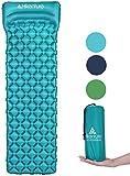 HIKENTURE Unisex Adult hiken05 Luftmatratze Kleines Packmaß Ultraleichte Aufblasbare Isomatte-Sleeping Pad für Camping, Reise, Outdoor, Wandern, Strand, Türkisblau mit Kissen, 1