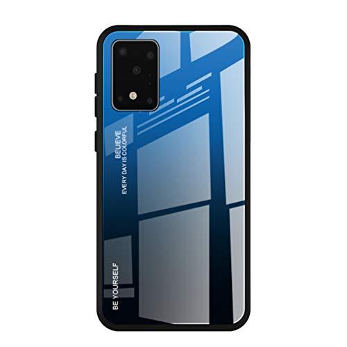HAOYE Cover per Samsung Galaxy Note 10 Lite/A81 Cover, Custodia in Vetro a Colori Sfumato, Vetro Temperato AntiGraffio Back Cover + Bordo in Silicone Morbido TPU Protettiva Case Cover(7)