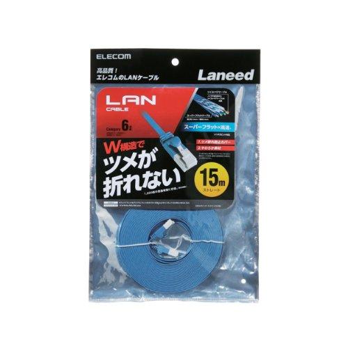 エレコム LANケーブル CAT6 フラット 15m ブルー LD-GFT BU150 ELECOM