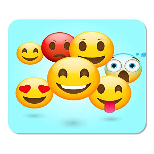 Mousepad Computer Notepad Büro Gelb Happy Emoticons Frisch Emoji Angry Cartoon Charakter Chat Fröhlich Clipart Home School Game Player Computer Worker Inch