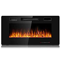 Tangkula 36 Inches Recessed Electric Fireplace, in-Wall & Wall Mounted Electric Heater with Adjustable Flame Color & Speed, Remote Control, Touch Screen, 750-1500W (36 Inches)