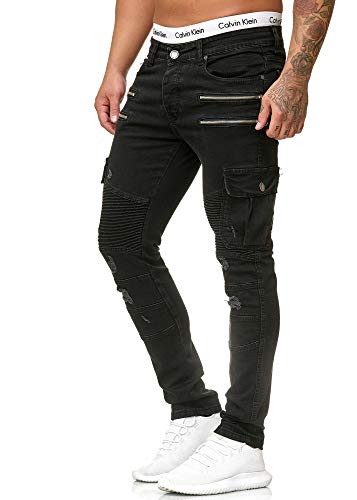 OneRedox Herren Jeans Denim Slim Fit Used Design Modell 5161 Schwarz 31/32