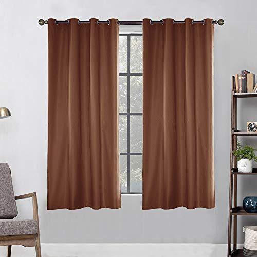 Topchances Outdoor Blackout Waterproof Curtain, Garden Patio Gazebo Sunscreen Door Curtains Indoor Outdoor with Grommet Curtain Panels for Sliding Door, 2 Panels (Coffee, 54 * 108 inch)