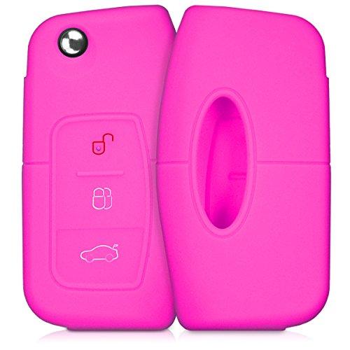 kwmobile Autoschlüssel Hülle kompatibel mit Ford 3-Tasten Klappschlüssel Autoschlüssel - Silikon Schutzhülle Schlüsselhülle Cover in Pink