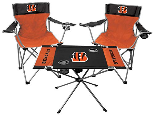 Rawlings NFL 3-Piece Tailgate Kit, 2 Gameday Elite Chairs and 1 Endzone Tailgate Table, Cincinnati Bengals
