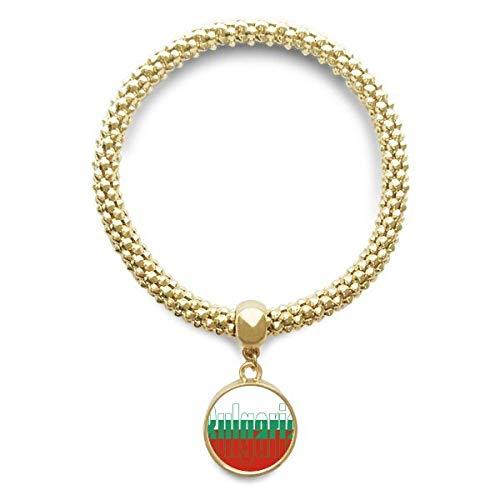 DIYthinker Damen Bulgarien Land Flagge Name Goldene Armband Laufende Anhänger Schmuck-Kette