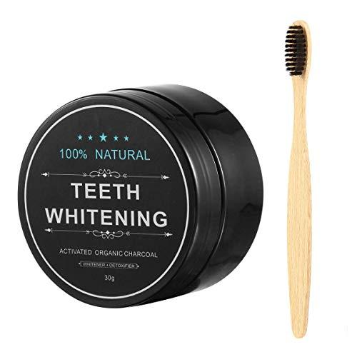Kobwa Aktivkohle Zahnweiß-Pulver (30g) und Zahnbürste Zahnweiß-Kit - Beseitigt Schlechten Atem, Verhindert Karies, Entfernt Rauch und Kaffeeflecken