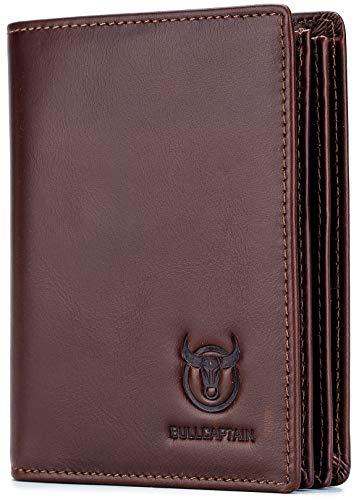 BULLCAPTAIN Genuine Leather Men Wallet RFID Blocking Bifold Wallets ID Window Credit Card Holder (Deep brown)