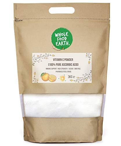 Wholefood Earth Vitamin C Powder (100% Pure Ascorbic Acid) - Vegan - Immune Support - GMO Free - High Strength - Pharmaceutical Grade, 3 kg