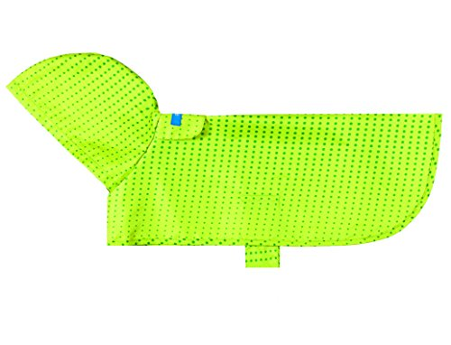 RC Pet Products Packable Dog Rain Poncho, Medium, Lime Halftone