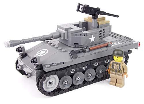 BricksStuff Tanque M18 Hellcat con Figura I Soldado Americano de la Segunda Guerra Mundial, Accesorios Personalizados de BrickArms | Kit con Instrucciones | Compatible con Lego®