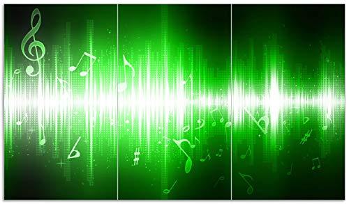 Wallario Herdabdeckplatte/Spritzschutz aus Glas, 3-teilig, 90x52cm, für Ceran- und Induktionsherde, Grüne Noten der Musik