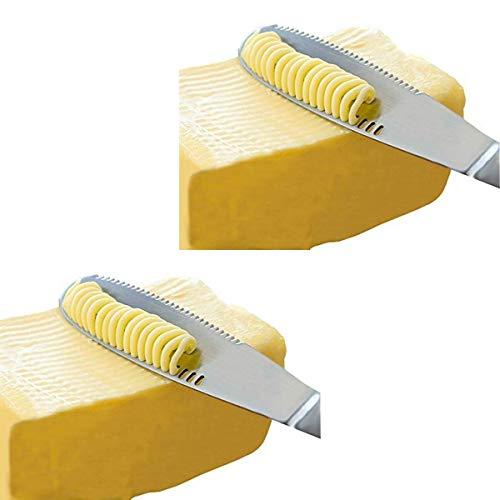 Simple Spreading Acero Inoxidable del Cuchillo para Mantequilla - 3 en 1 Rizador, esparcidor y máquina de Cortar Mantequilla con un Cuchillo serrado Edge - Conjunto de 2 Unidades