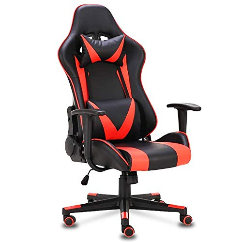 OGEFER Computer Gaming Chair Home Office Chair Racing Style Ergonomic with Headrest Pillow Lumbar Support Armrest Swivel Chair Rocking Function 180 Degree Reclining Massage Black Red chair gaming red