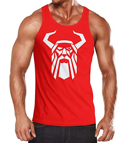 Neverless® Herren Tank-Top Odin Helm Krieger Valhalla Fashion Streetstyle Muskelshirt Muscle Shirt rot XL