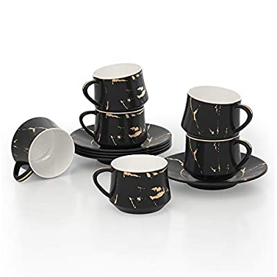 ADDTREE Forest Series 100% Handmade Black Porcelain Gold Marble Tea Service Set,Tea Cup and Saucer Set Service for 6?4 OZ?,Sugar Set, Gift box,Tea Cups Set for Home and Office