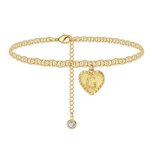 IEFSHINY G Ankle Bracelets for Women Initial Anklet, Mariner Chain Letter Anklet with Initials Cute Summer Anklets Gold Anklets Bracelets for Women Girls
