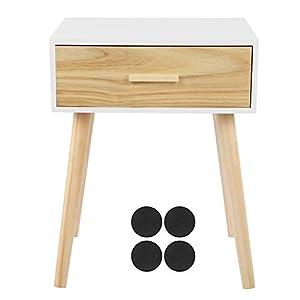 EBTOOLS Mesita de noche abierta, mueble contenedor modular de MDF + pino con cajones y 4 patas de mesa, 42 x 35 x 53 cm