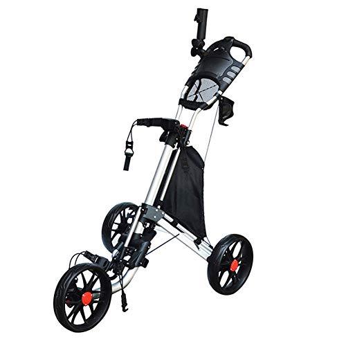 LXLTLB Golftrolley, 3 Räder, Drehbar, Klappbar, Mit Handbremse Und Schirmständer, Einfach Zu Transportieren Und Zu Öffnen, 1-klick-Demontage