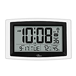 WallarGe Atomic Clock,Digital Wall Clock or Desk Clock,Battery Operated,Self-Setting Digital Alarm Days Clock Large Display for Seniors,Temperature, Humidity and Date,Easy to Read.