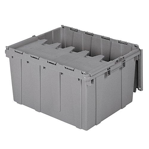Buckhorn AR2420120201000 Industrial Grade Plastic Attached Lid Flip TOP 17 gallon Container Tote - 24' x 20' x 12' - Grey,