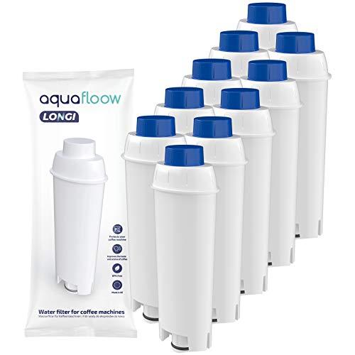 Aquafloow Cafetera Automática Filtro para DeLonghi DLSC002, DeLonghi Filtro de Agua Cartuchosde Carbón Activado para De'Longhi ECAM ESAM ETAM BCO, Paquete de 10