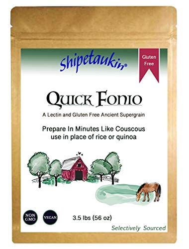 Shipetaukin Vegan Quick Cooking Fonio: a Gluten Free, Lectin Free Ancient African Whole Grain Supergrain(3.5 Lbs.)