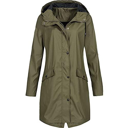 XOXSION Chubasquero para mujer, monocolor, para exterior, de gran tamaño, con capucha, resistente al viento, impermeable, resistente al sol, transpirable, chaqueta softshell B verde militar. XXXL
