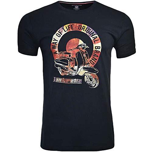 Lambretta Herren-T-Shirt, kurzärmelig, Rundhalsausschnitt -  blau -  4X-Groß
