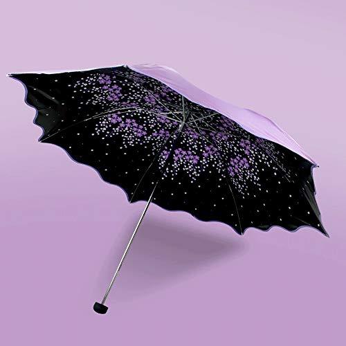 AXWT Arco auténtico Princesa de Encaje Grande Paraguas Plegado Sombra Negro Pegamento Súper Fuerte Protector Solar Paraguas de Sol (Color : Purple)