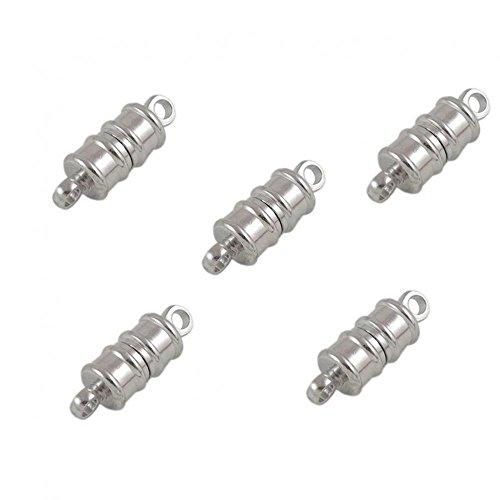5 cierre magnético 16 x 6 mm, juego de enganches para bisutería pulsera de cierre magnético para hacer collares-gris