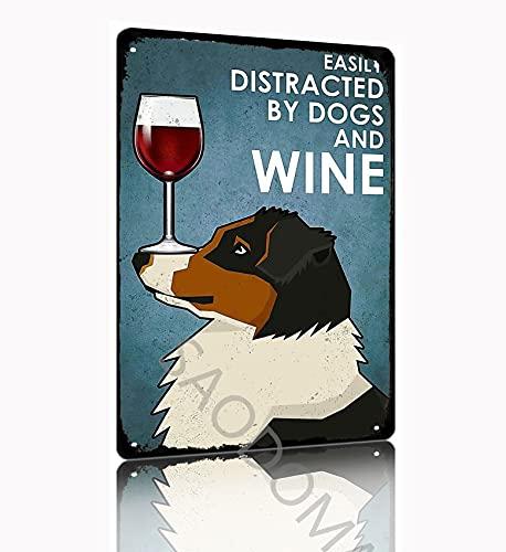 SAODOMA Pastor australiano perros y vino diario clásico decorativo garaje para negocios al aire libre arte de pared retro hombre cueva estaño signo 30 x 20 cm