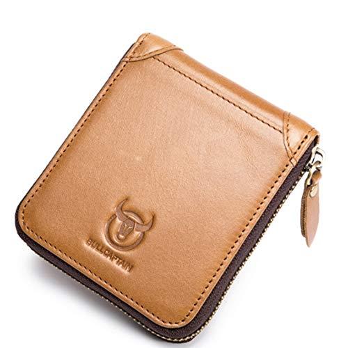Personaliseerbare modieuze portemonnee van leer voor heren, retro-stijl, eenvoudige ritssluiting, korte creatieve portemonnee, Red (Geel) - HAPPY LEMON