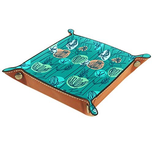 ZDL Caja de almacenamiento de flores azules retro dibujada a mano para llaves, teléfono, monedas, relojes, etc. 20.5 x 20.5 cm