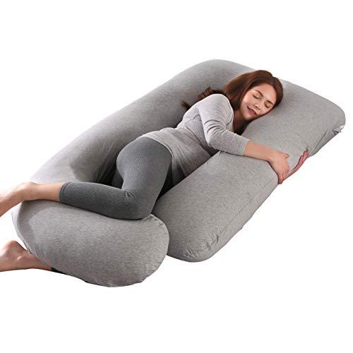 ARNTY Almohada Embarazada Dormir en Forma de U,Gran Almohada de Maternidad de Cuerpo Completo,Almohada para Embarazo con Funda de Algodón Extraíble y Lavable (Gris Claro)