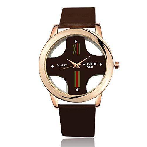 ZHANGZZ Booty Uhr High-End-Uhr WoMage Uhr Mode Exquisite hohlen Kreuz Männer Gürtel Uhr (Color : 1)