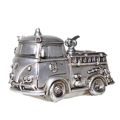 UDO Schmidt 89238 Spaarpot brandweer auto antiek zilver brandweerauto spaarvarken figuur