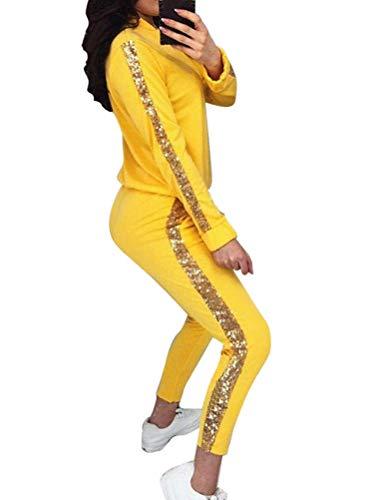 Minetom Mujeres Atractivo Lentejuelas Dos Piezas Chándal De Terciopelo Conjuntos Deportivos Cremallera Chaqueta Tops Pantalones Amarillo 36