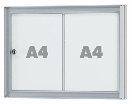 Schaukasten ARGUS – für den Innenbereich, Acryl-Sicherheitsglas, Rahmen aus Alu - div. Größen von 1 x DIN A4 bis 8 x DIN A4 (2 x DIN A4 Außenmaße BxHxT: 477x352x25mm)