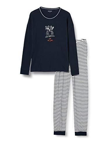 Schiesser Mädchen Schlafanzug lang Pyjamaset, Nachtblau, 164