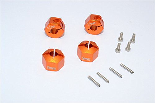 GPM HPI Bullet 3.0 Nitro & Bullet Flux Upgrade Pièces Aluminium Hex Adapter 12mm Diameter with 9mm Thickness for Optional EXO Wheels EX0503FR & EX1003FR - 4Pcs Set Orange