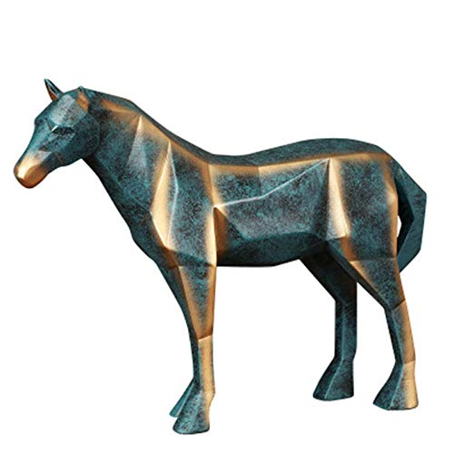 Standbeelden Ornamenten Eenvoudige Geometrie Gekleurde Tekening Hars Paard Beeldje Creatieve Abstractie Simulatie Dierenhuisdecoratie