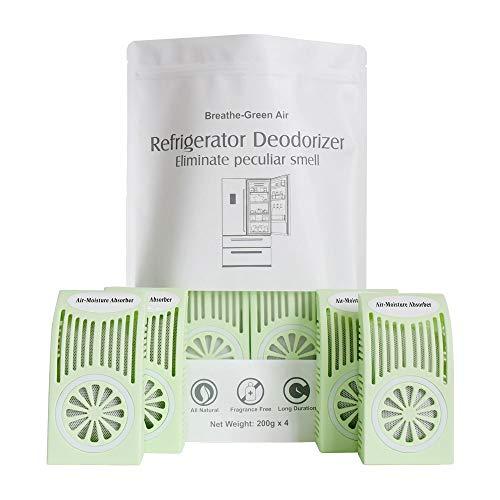 CANAGER Refrigerator Deodorizer, Freezer Odor Eliminator,Better Than Baking Soda-(Green,4 Pack)