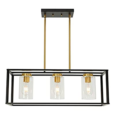 VINLUZ Industrial Chandeliers 3 Light with Clear Glass Shade Brushed Brass and Black Modern Farmhouse Dining Room Lighting Fixtures Hanging, Kitchen Island Linear Pendant Lights Ceiling