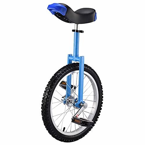 HXFENA Einrad Kinder,HöHenverstellbare Skidproof Mountain Reifen Laufrad Trainer EinräDer mit Rahmen,Ergonomischem Sattel / 18 Inch/Blue