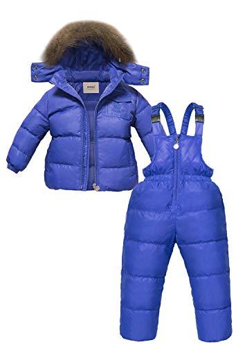 Zoerea Unisex Piumino Bambino Invernale Tuta da Neve per Bambina Ragazzi Giacca Snowsuit Leggero Sci Giacche Completo e Pantaloni 2 Pezzi (Blu Reale, 100)