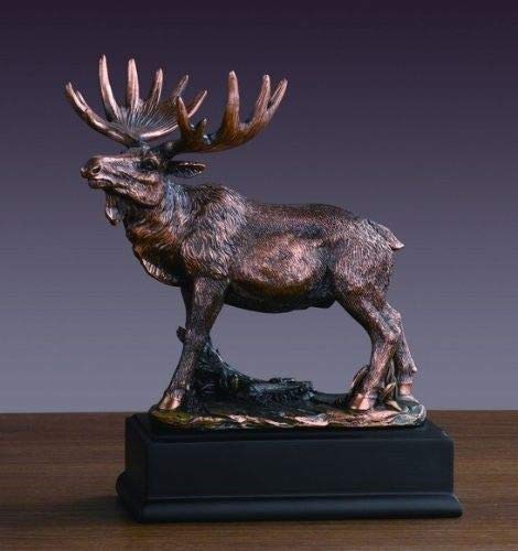 ShopForAllYou Figurines and Statues Moose Statue 8' Height Bronze Electroplated Figurine Deer Family Wild Life