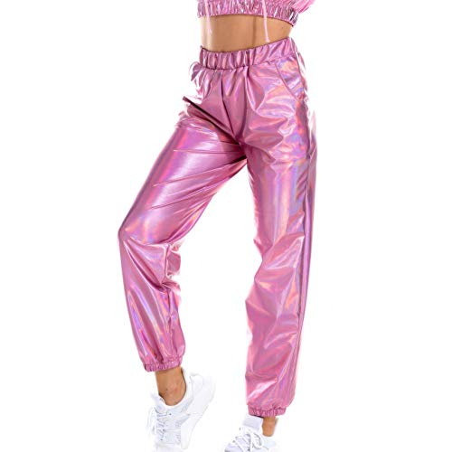 Hhckhxww Casual Sports Street Hip-Hop Party Shiny Magic Color Trousers Hologram Laser Loose Pants Pink