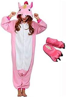 Kit Pijama Unicórnio Rosa com Pantufa Kigurumi Unissex